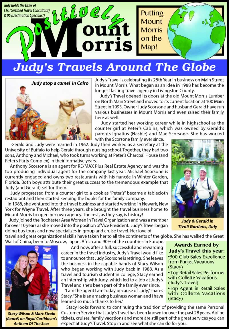Judy's Travel announces that Judy Scorsone is  retiring, leaving the business in the capable hands of Stacy Wilson.